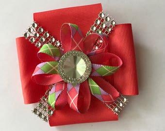 Coral pink silver green ribbon hair bow, coral pink ribbon clip, coral grosgrain ribbon hair bow