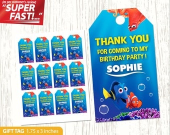 Finding Dory THANK YOU TAG, Finding Dory Favor Tags Digital, Finding Dory Gift Tag, Finding Dory Birthday Tags, Finding Dory Party Tag, v2u