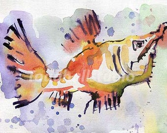 The fish,watercolor painting print,digital,wall art,printable art,decor.