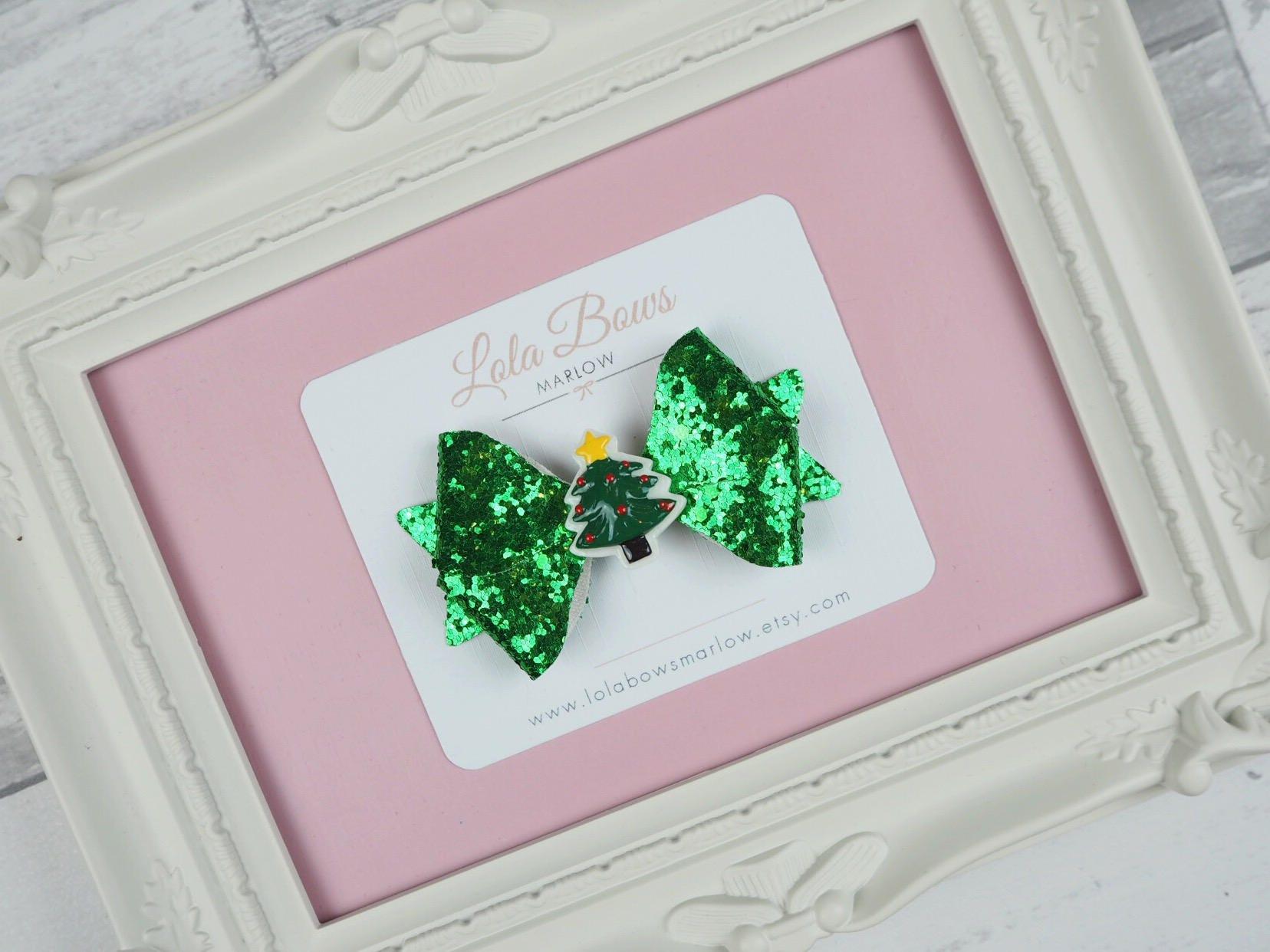 Christmas Tree Hair Bow Christmas Bows Green Glitter Hair Clip  - Christmas Tree Hair Bows
