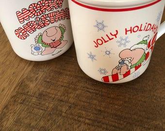 Vintage 1980's Set of 2 Ziggy Christmas Mugs