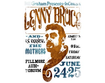 T-SHIRT: Lenny Bruce / Distressed Concert Poster - Classic T-Shirt & Ladies Fitted Tee - (LazyCarrot)
