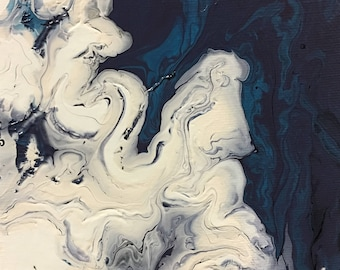 Abstract fluid art painting