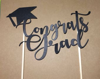 Graduation Cake Topper, Congrats Grad, Graduation Cake, Grad Cake Topper, Class of 2018, Cake Topper, Graduation Party, Party Supplies Grad