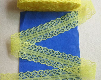 Sold by the yard - 100% cotton - yellow lace