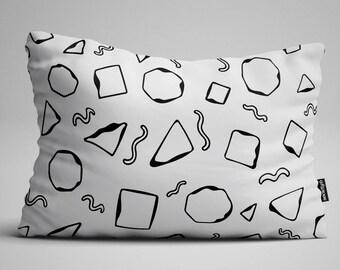 White Geometric Lumbar Pillow, Throw Pillow, Black and White Pillow, Rectangular Pillow, Decorative Pillow, Throw Pillows, Pillow, Pillows