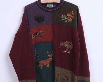Mackenzie Country Mens L Jumper Wool Maroon Crew Neck Vintage