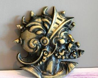 Bronze Sculpture. Head of Greek warrior in helmet. Collectible Art.