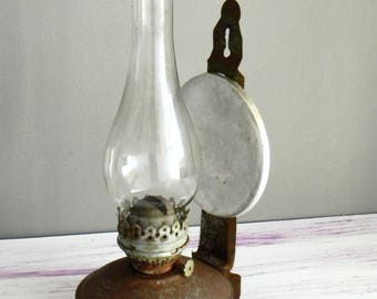 Vintage Kerosene Lamp-Soviet Lamp USSR-Retro Oil lamp with Metal Reflector- Industrial decor