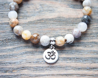 Ohm Yoga Bracelet Meditation Bracelet Yoga Teacher Gift Mens Mala Beads Womens Mala Beads | Chakra Bracelet Prayer Beads Silver Ohm Bracelet