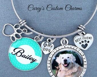 Love My Dog or Love My Cat Bangle Charm Bracelet w/ Custom Photo Charm, Personalized Name Charm, Paw, Cat, Kitten, Dog, Puppy, Best Friend
