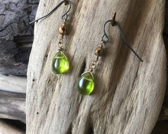 Green and brown drop earrings