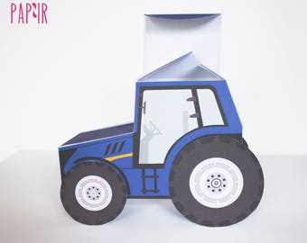 Blue Tractor Box | printable tractor, tractor birthday, new holland tractor, tractor ornament, tractor nursery art, surprise box