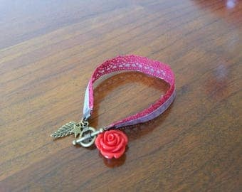 Red lace, organza grey, red and bronze charms bracelet