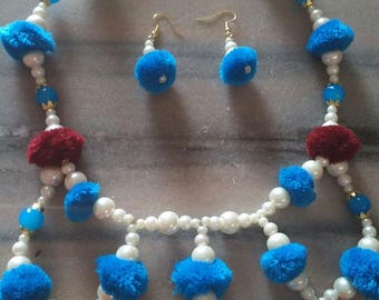 Pom Pom Necklace Earrings set, Gift for her, Everyday use, Summer earrings necklace, latest fashion
