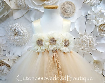 Ivory/Beige Flower Girl Tutu Dress-Beige Tutu Dress-Ivory Tutu Dress.Flower Girl Tutu-Wedding Tutu-Birthday Dress