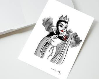 Postcard Queen Grimhilde card. The bad girls collection