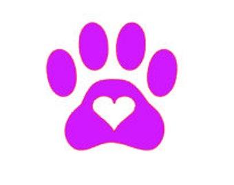 Dog car Decal, Cat Car Decal, I love my dog, I love my cat, paw print decal