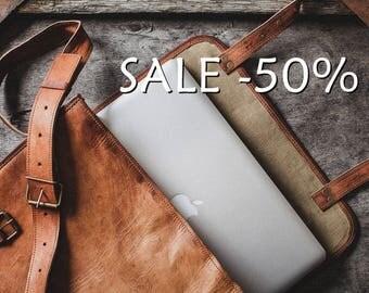"""SALE / Leather Messenger Bag 14"""" / Briefcase / Cross Body Bag / Handbag / Satchel / iPad / Hip Bag / Shoulder Bag"""