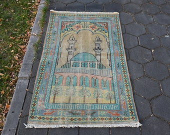Decorative Rug Free Shipping Turkish Prayer Rug Vintage Rug 2.4 x 4.1 feet Turkey Rug Bohemian Rug Area Rug Boho Decor Floor Rug DC712