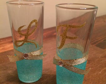 Personalized Glittered Shot Glass for Bridesmaids, Wedding Party or 21st Birthday