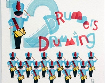 Twelve Drummers Drumming Hand-lettered Print