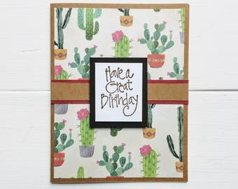 Birthday card, Cactus print, Have a great birthday, Birthday wishes, Birthday gift, Gift idea, Fun card, Blank card, Note card, Cactus