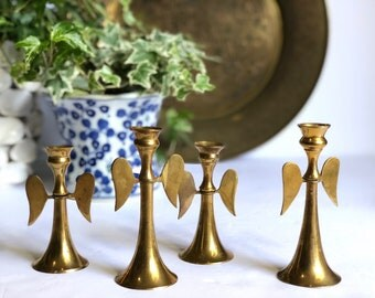 Vintage Brass Angel Wing Candlestick Holders