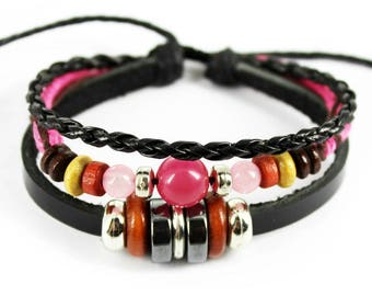 Leather, Beads & Hemp Bracelet (Pink)