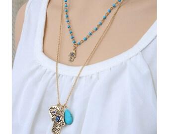 Turquoise Evil Eye Buddha Palm Necklace