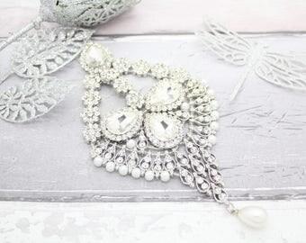 Beautiful Large Silver Statement Indian Bollywood Jhoomer Side Pasa Maang Tikka Matha Patti Headpiece Head Chain Bridal Wedding