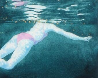 Original Art - Mini Swimmer no.15 - Painting in gouache, watercolour, gold leaf. Open water swimmer, diver. Artwork by Nancy Farmer