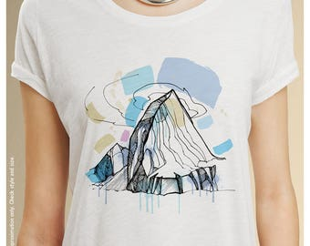 Alchemical Mountain Scoopneck T-Shirt | Nature Art | Ladies' Gift Tee