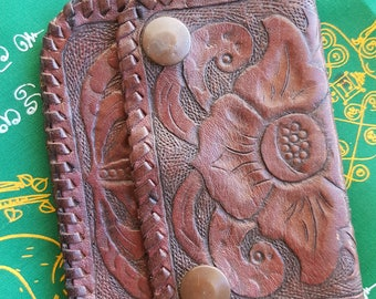 Vintage Tooled Leather Coin Purse Wallet