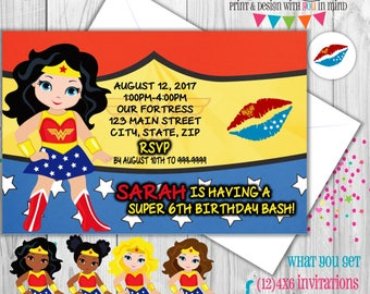 Wonder Woman party invitations (set of 12)