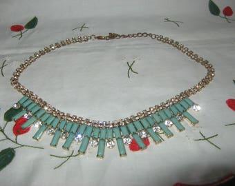 Vintage Necklace Turquoise colour & Rhinestones complete looks fabulous!