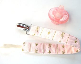Pink and Gold Arrow Pacifier Clip- Soothie Binky Clip- Choose 1 Sale- Baby Girl Pacifier Clip- baby pink and gold