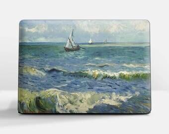 "Laptop skin (Custom size). Vincent Van Gogh, ""Fishing Boats at Saintes-Maries"". Laptop cover, HP, Lenovo, Dell, Sony, Asus, Samsung etc."
