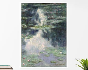 "Claude Monet, ""Pond with Water Lilies"". Art poster, art print, rolled canvas, art canvas, wall art, wall decor"