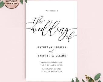 Wedding Programs, Printable Wedding Programs Booklet Template, Calligraphy Wedding Program, Folded Wedding Program Ceremony Instant Download