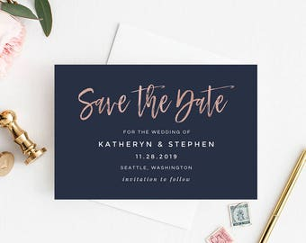 Navy Blue & Rose Gold Wedding Save The Date Printable Template, Modern Calligraphy Wedding Save The Date Printable Template Instant Download