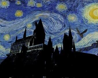 harry potter hogwarts, hogwarts wasnt hirring, van gogh, starry night print, geek, geek wall art, hogwarts castle, starry night, hogwarts,