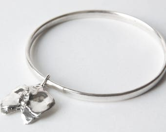 Sterling Silver Bangle with Orchid Pendant /Handmade Sterling Silver Bangle/Silver Bangle/ Sterling Silver Orchid Pendant/Artisan Jewellery
