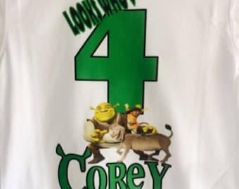 Shrek Birthday t-shirt,Boys birthday shirt,Shrek forever shirt,first birthday shirt,boys shirt,custom shirt,any age, any name.