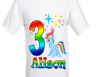 Rainbow Dash Birthday Shirt,My Little Pony birthday shirt,Personalised Girl's shirt,First Birthday shirt,My Little Pony Rainbow Dash shirt.