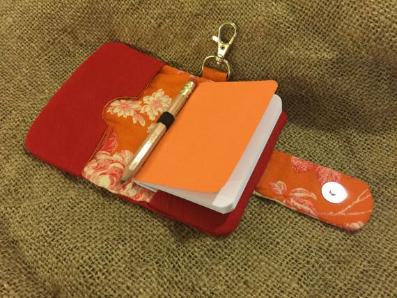 Handmade clip-on red canvas card wallet with magnetic snap closure, notebook, and pencil.  Perfect card holder for business cards!