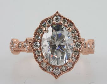 Oval 9x7 Moissanite Forever One Brilliant Halo Engagement Ring Moissanite and Diamond Antique Vintage style Ring 14k Rose Gold