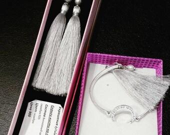 Jewelry set, earrings, brush and handmade bracelet with brush