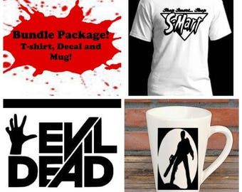 Evil Dead Ash Bundle Gift Package Unisex Shirt Decal Mug Present Horror Lover Decor Halloween Merch Massacre