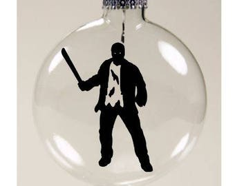 Jason Vorhees Friday the 13th Christmas Ornament Glass Disc Holiday Horror Merch Massacre